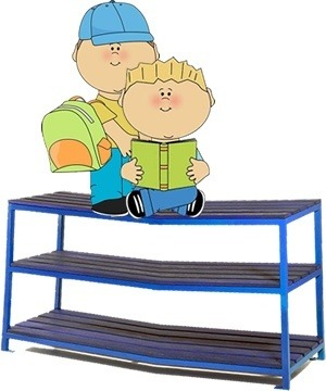 school children on top of bag rack clipart