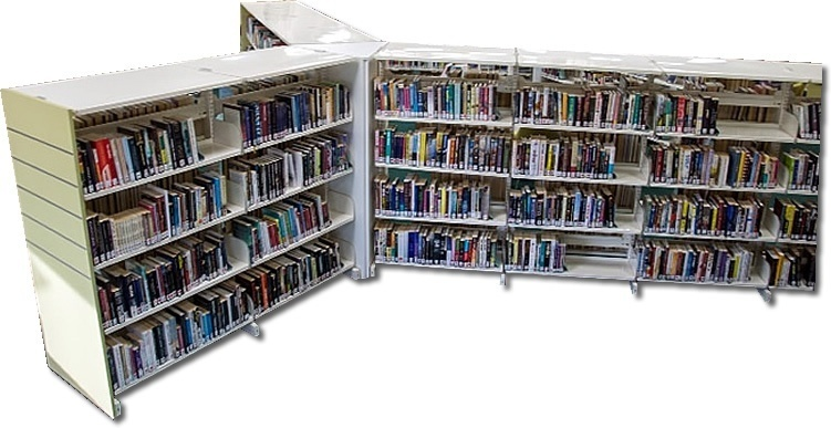 Propeller shaped bespoke book shelving