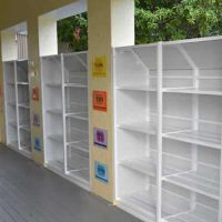weather proof outdoor school bag racks