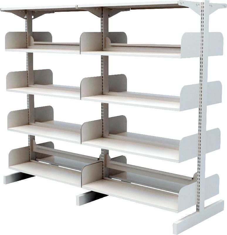 Double Side Flat Metal Library Shelf