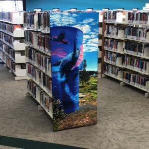 Gordon White Library Mackay Printed Shelving End Panel - silo