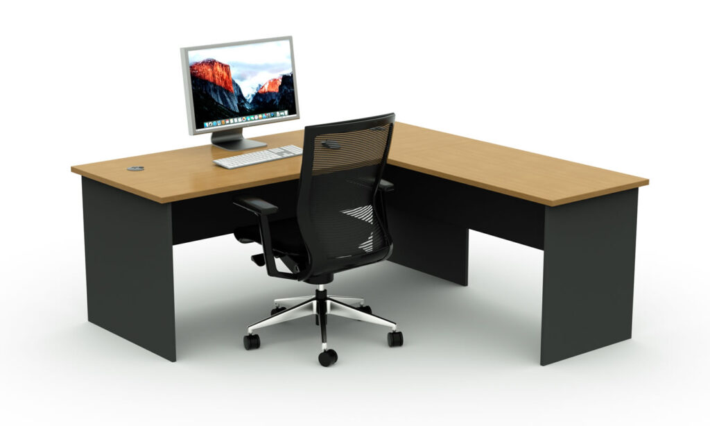 Straight Desk with Return Beech on Ironstone