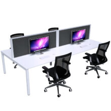 Strata 4 Person Desk Double Side Black with Privacy option