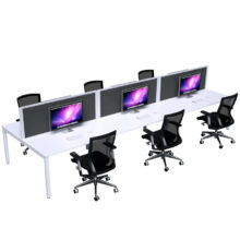 Strata 6 Person Desk Double Side Dressed with Screens