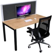 Strata Desk One Person Dressed Oak Blk Optional Fabric Screen