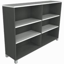 Strata Wide Bookcase Ironstone White